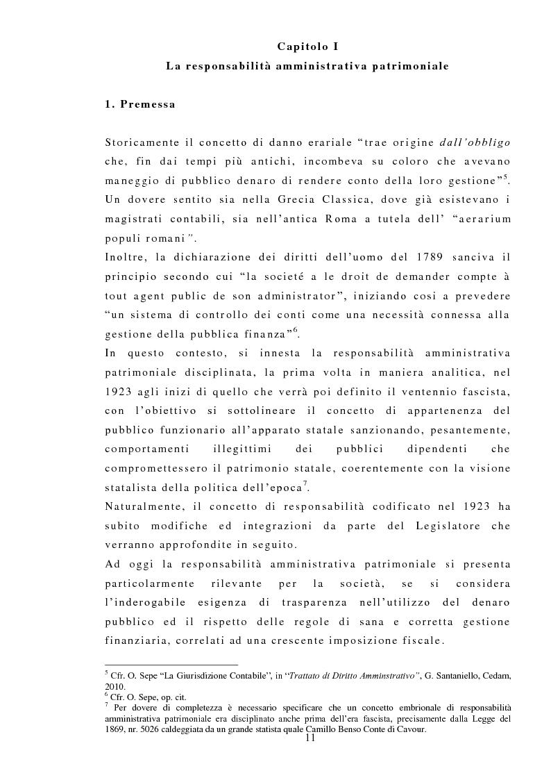 La responsabilit� amministrativa patrimoniale, Giurisdizione Contabile, Danno Erariale - Tesi di Laurea