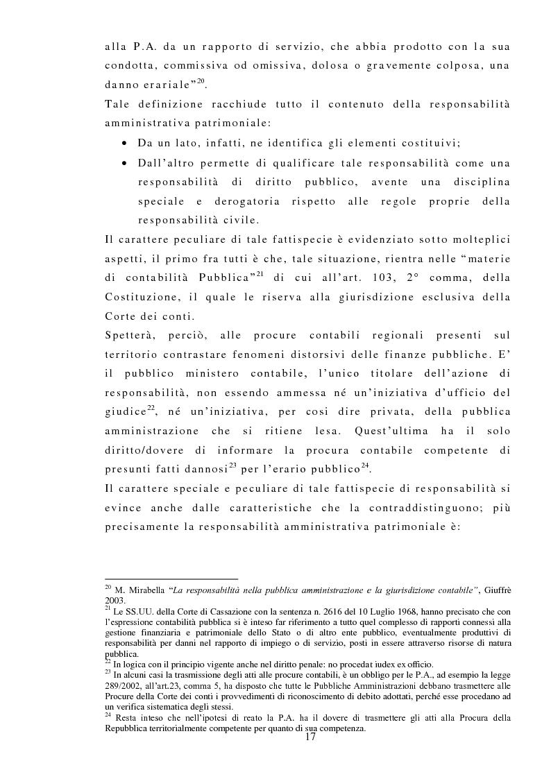 Anteprima della tesi: La responsabilità amministrativa patrimoniale, Giurisdizione Contabile, Danno Erariale, Pagina 8