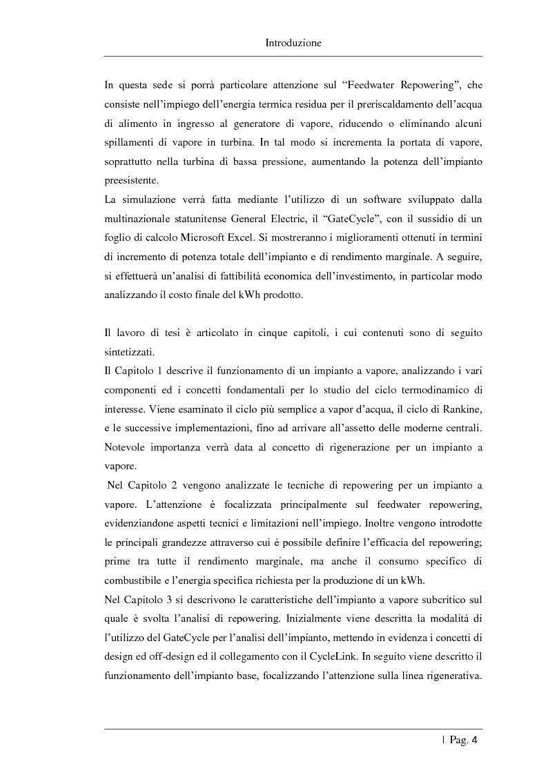 Anteprima della tesi: Studio delle fattibilità tecniche ed economiche del feedwater repowering in centrali termoelettriche a vapore, Pagina 5