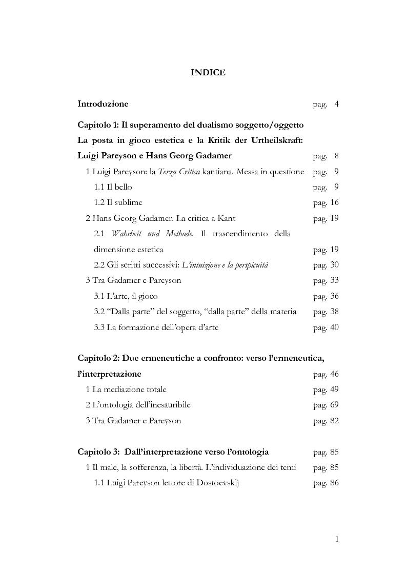 Indice della tesi: In Cammino verso l'Ontologia, Pagina 1