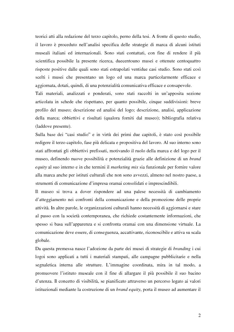 Anteprima della tesi: Il Brand Equity per il museo: possibilità e applicazioni., Pagina 3