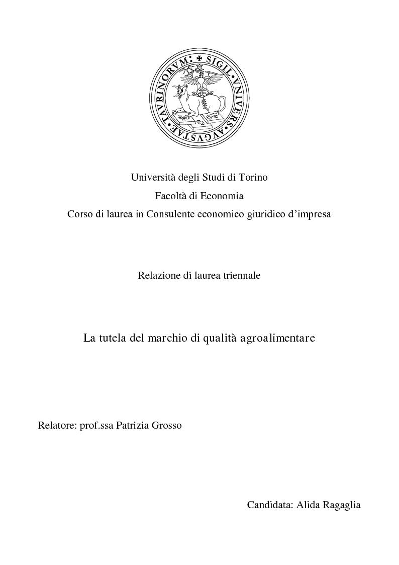 Anteprima della tesi: La tutela del marchio di qualità agroalimentare, Pagina 1