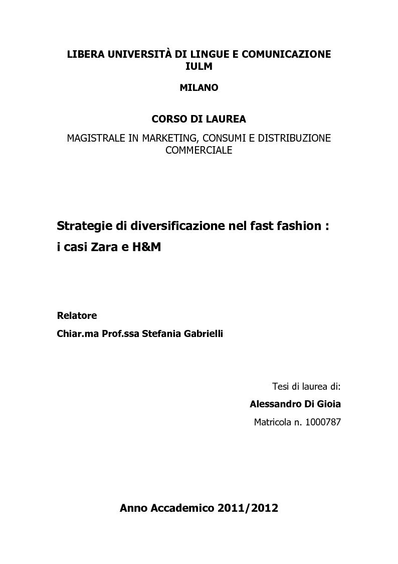 Anteprima della tesi: Strategie di diversificazione nel fast fashion: i casi Zara e H&M, Pagina 1