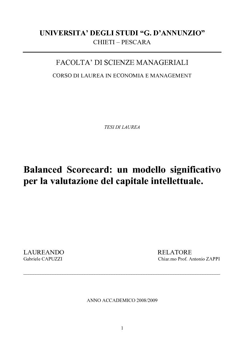 Anteprima della tesi: Balanced Scorecard: Un modello significativo per la valutazione del Capitale Intellettuale , Pagina 1