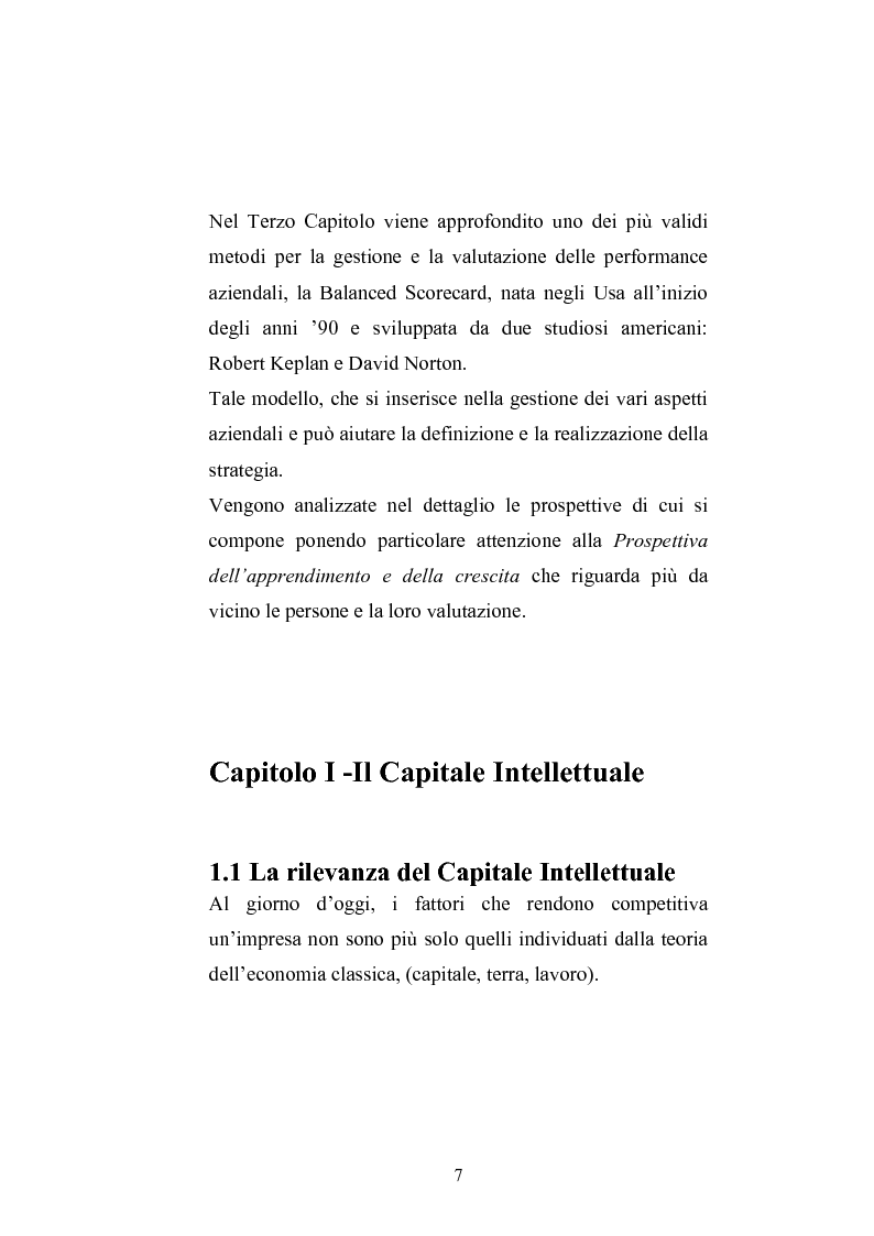 Anteprima della tesi: Balanced Scorecard: Un modello significativo per la valutazione del Capitale Intellettuale , Pagina 4