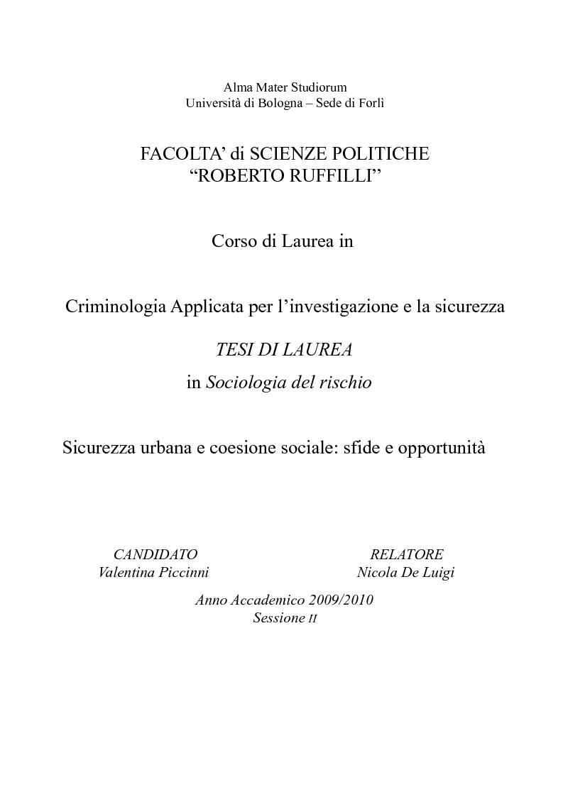 Anteprima della tesi:       Sicurezza urbana e coesione sociale: sfide e opportunità, Pagina 1