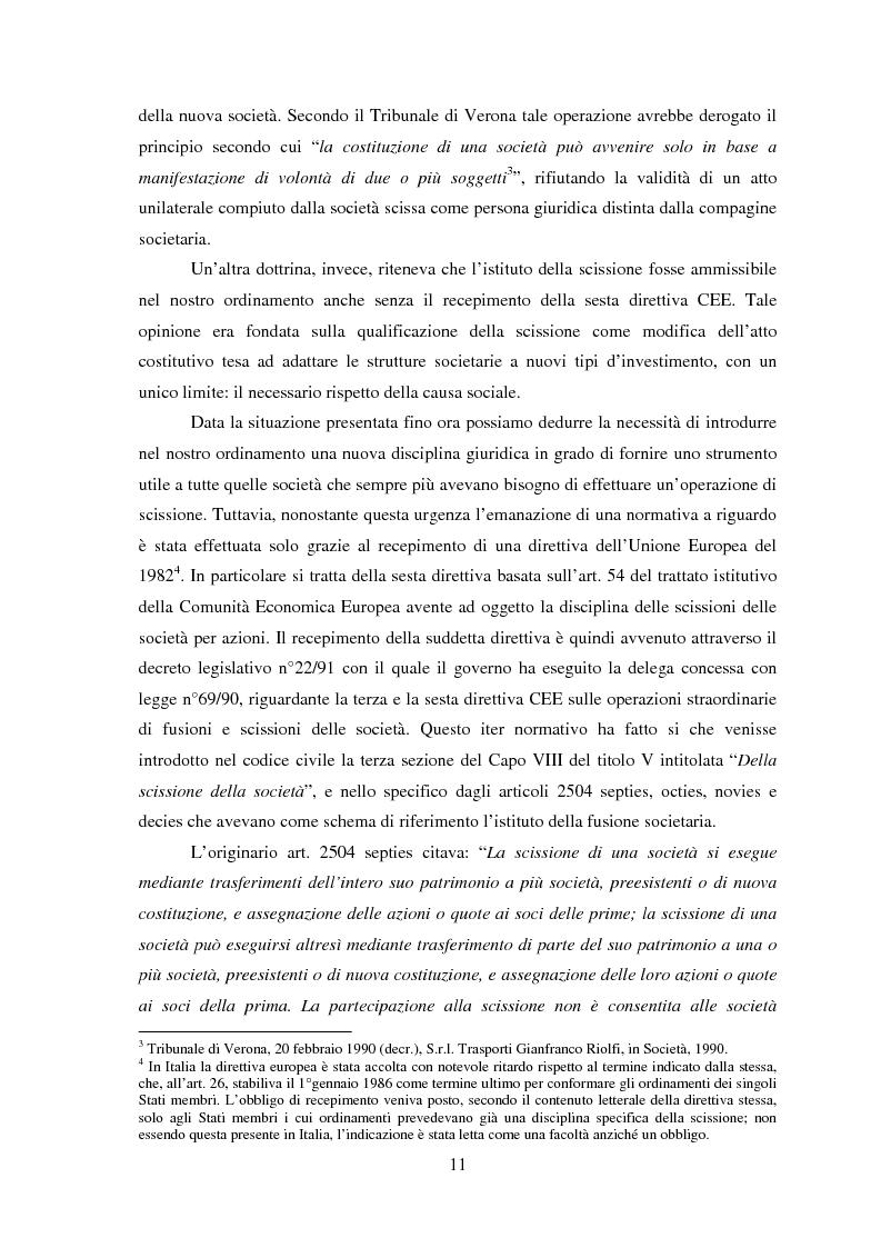 Anteprima della tesi: La scissione societaria: il caso Fiat, Pagina 7