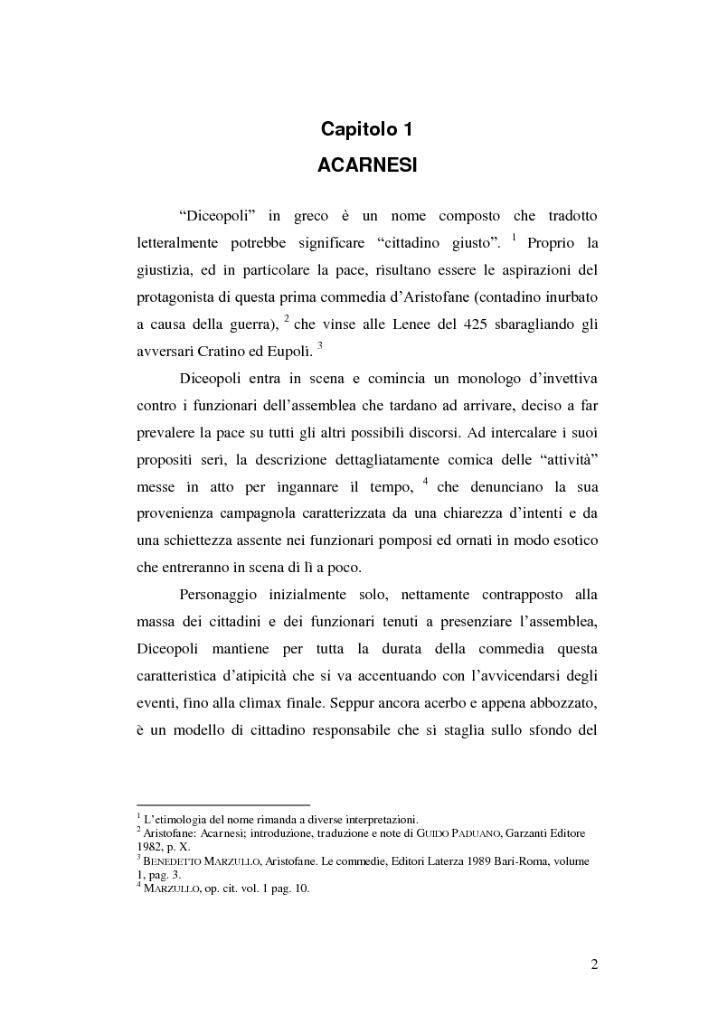 Anteprima della tesi: Tipologie di personaggio comico in Aristofane: Acarnesi, Tesmoforiazuse e Lisistrata, Pagina 3