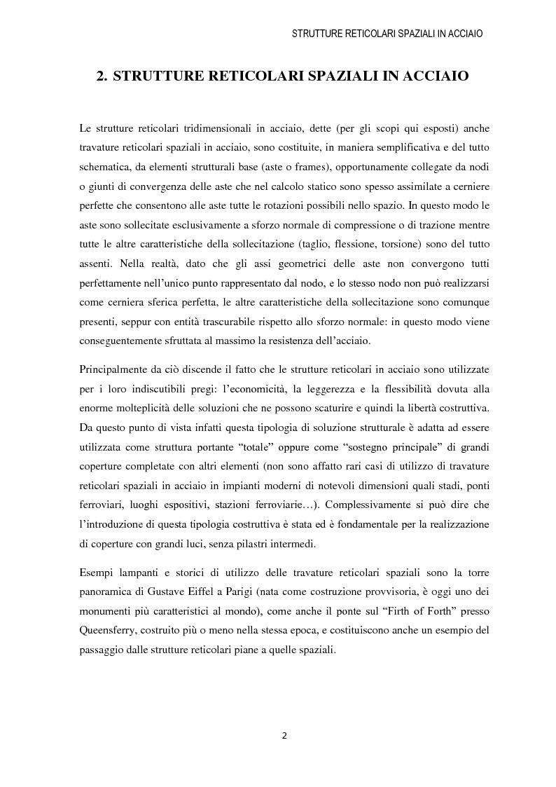 Anteprima della tesi: Strutture reticolari spaziali in acciaio: Tipologie metodi di calcolo ed esempi applicativi, Pagina 3