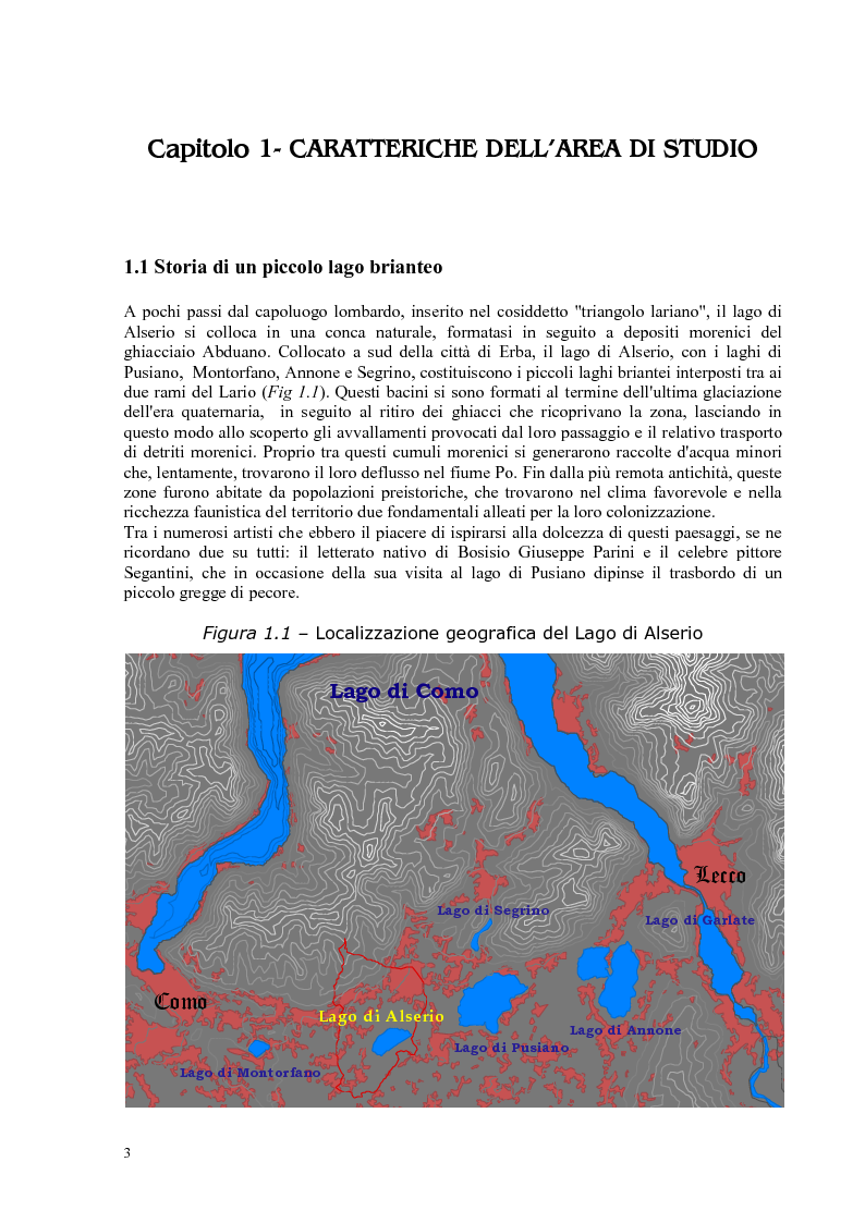 Anteprima della tesi: Roggia Fiume: caratteristiche chimiche, fisiche,biologiche, ecologiche e relativo impatto sul lago di Alserio, Pagina 2