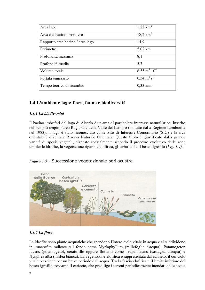 Anteprima della tesi: Roggia Fiume: caratteristiche chimiche, fisiche,biologiche, ecologiche e relativo impatto sul lago di Alserio, Pagina 6