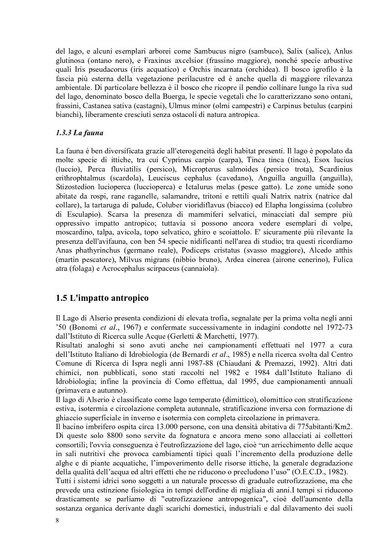 Anteprima della tesi: Roggia Fiume: caratteristiche chimiche, fisiche,biologiche, ecologiche e relativo impatto sul lago di Alserio, Pagina 7