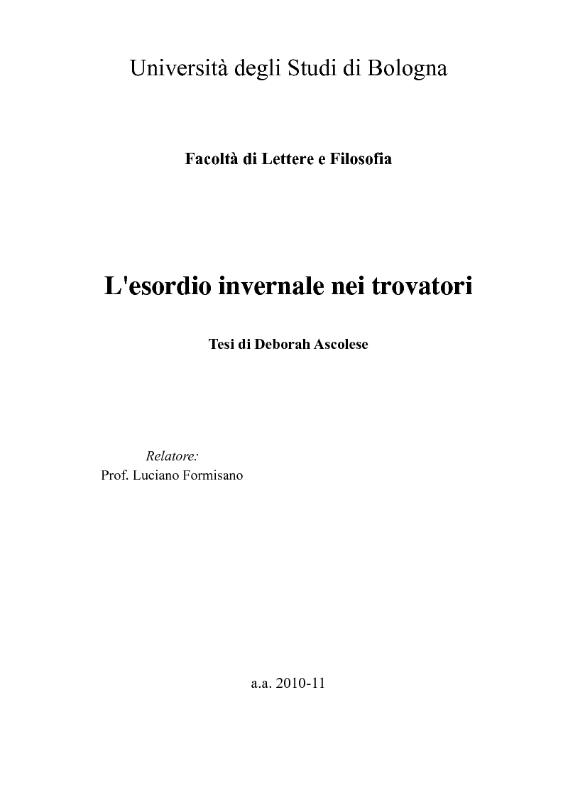 Anteprima della tesi: L'esordio invernale nei trovatori, Pagina 1