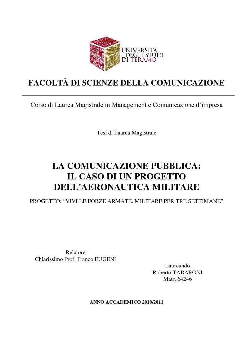 Anteprima della tesi: La Comunicazione Pubblica: Il Caso di un Progetto dell'Aeronautica Militare, Pagina 1