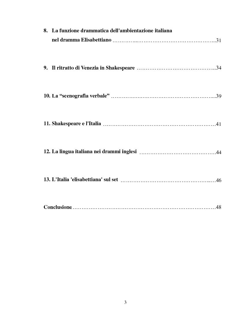 Indice della tesi: Rappresentazione dell'Italia sulla Scena Elisabettiana, Pagina 2