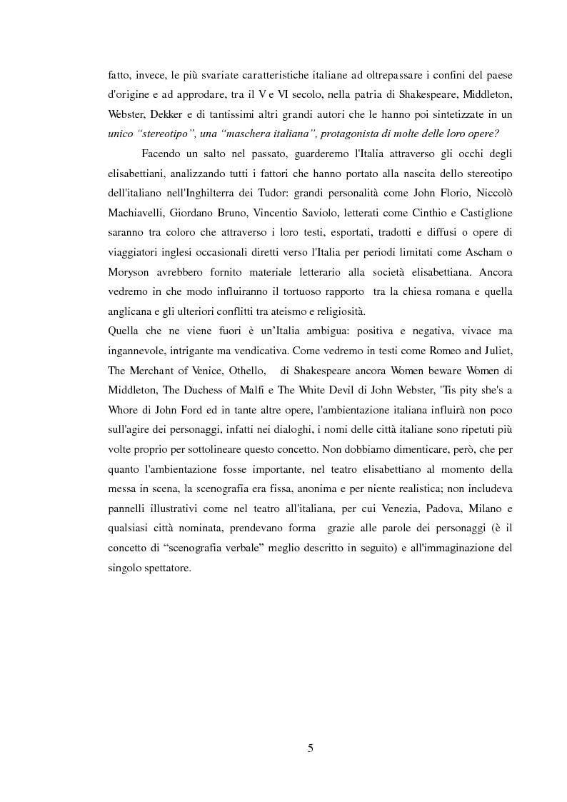 Anteprima della tesi: Rappresentazione dell'Italia sulla Scena Elisabettiana, Pagina 3