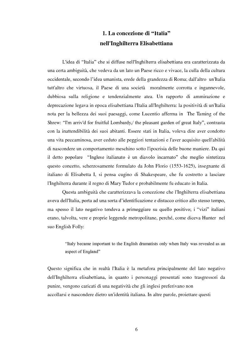 Anteprima della tesi: Rappresentazione dell'Italia sulla Scena Elisabettiana, Pagina 4