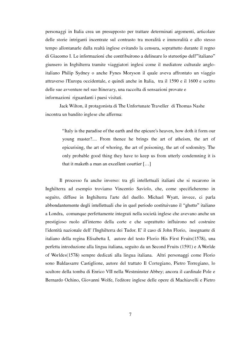 Anteprima della tesi: Rappresentazione dell'Italia sulla Scena Elisabettiana, Pagina 5