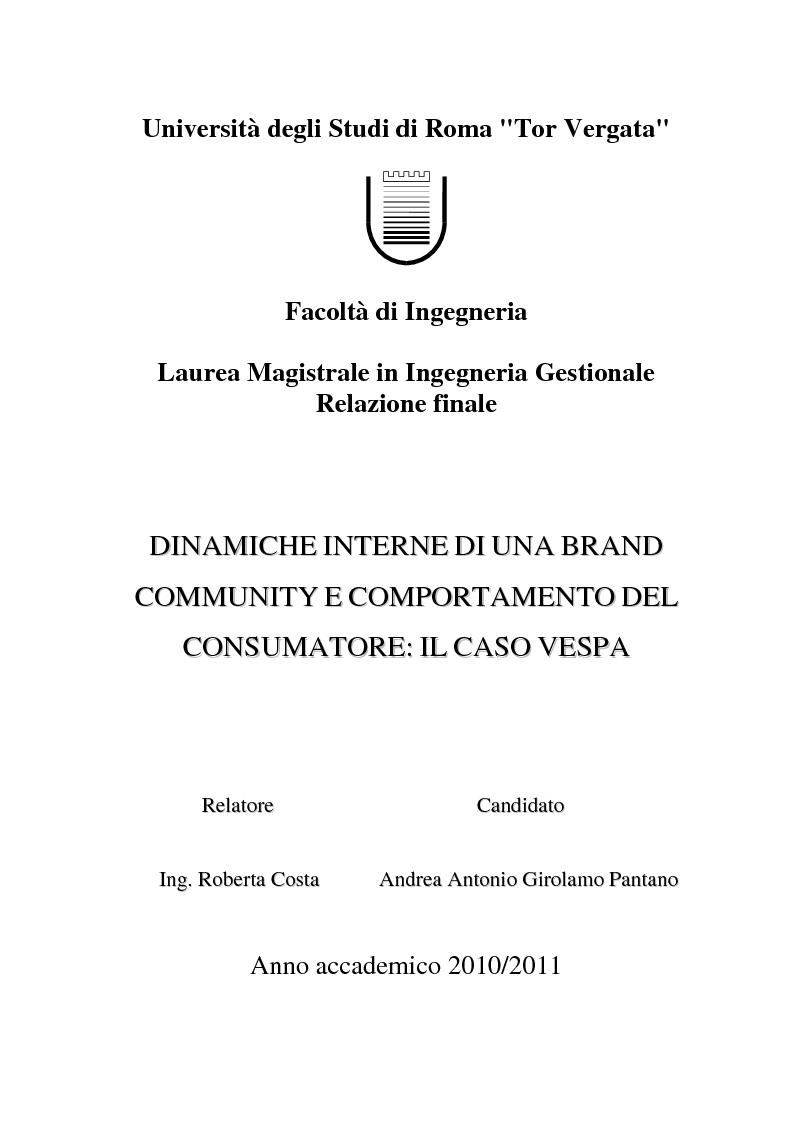 Anteprima della tesi: Dinamiche interne di una Brand Community e comportamento del consumatore: il caso Vespa, Pagina 1