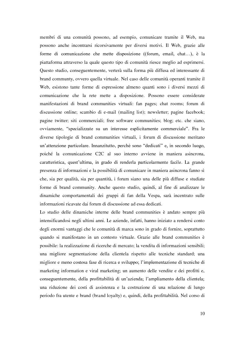 Anteprima della tesi: Dinamiche interne di una Brand Community e comportamento del consumatore: il caso Vespa, Pagina 5