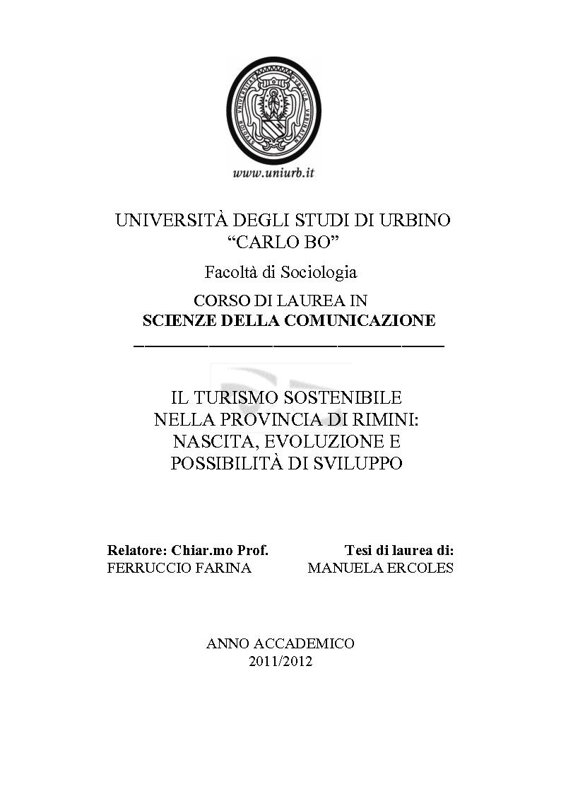 Anteprima della tesi: Il turismo sostenibile nella provincia di Rimini. Nascita, evoluzione e possibilità di sviluppo., Pagina 1