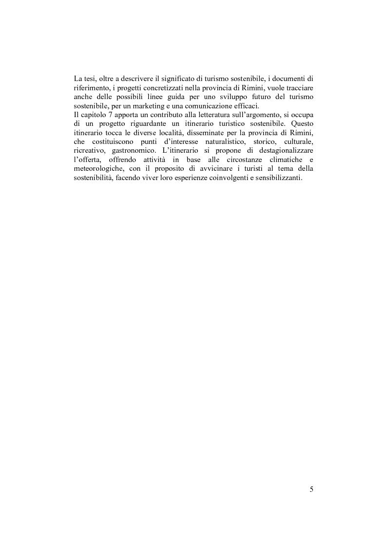 Anteprima della tesi: Il turismo sostenibile nella provincia di Rimini. Nascita, evoluzione e possibilità di sviluppo., Pagina 4