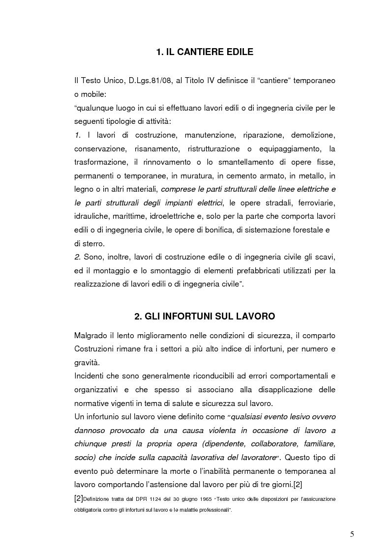 Anteprima della tesi: La sicurezza nei cantieri edili: le cadute dall'alto, Pagina 4