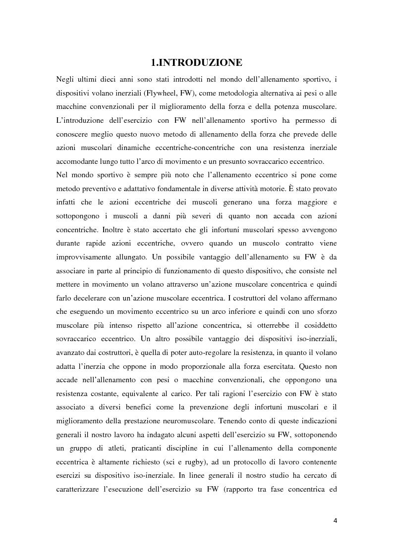 Anteprima della tesi: L'Allenamento della forza con volano inerziale: caratterizzazione meccanica e monitoraggio del periodo di apprendimento, Pagina 2