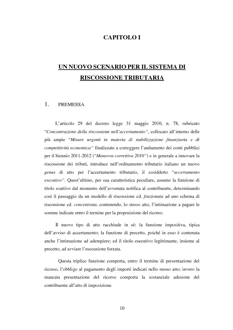 Anteprima della tesi: L'efficacia esecutiva degli avvisi di accertamento, Pagina 2