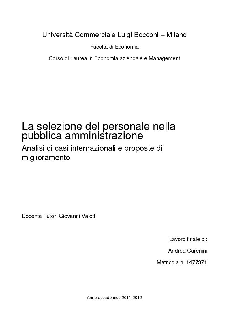 Anteprima della tesi: La selezione del personale nella pubblica amministrazione. Analisi di casi internazionali e proposte di miglioramento., Pagina 1