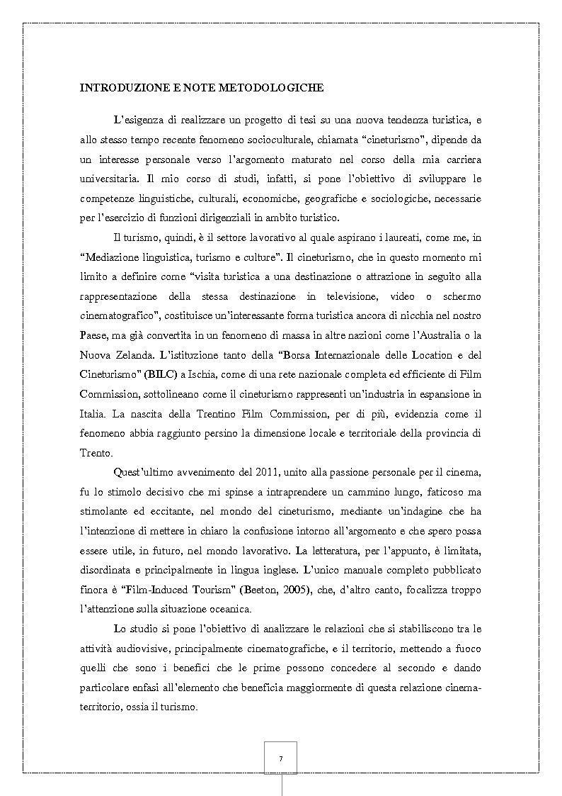 Anteprima della tesi: Il Cineturismo: una nuova forma di turismo culturale e una strategia privilegiata di marketing territoriale, Pagina 2