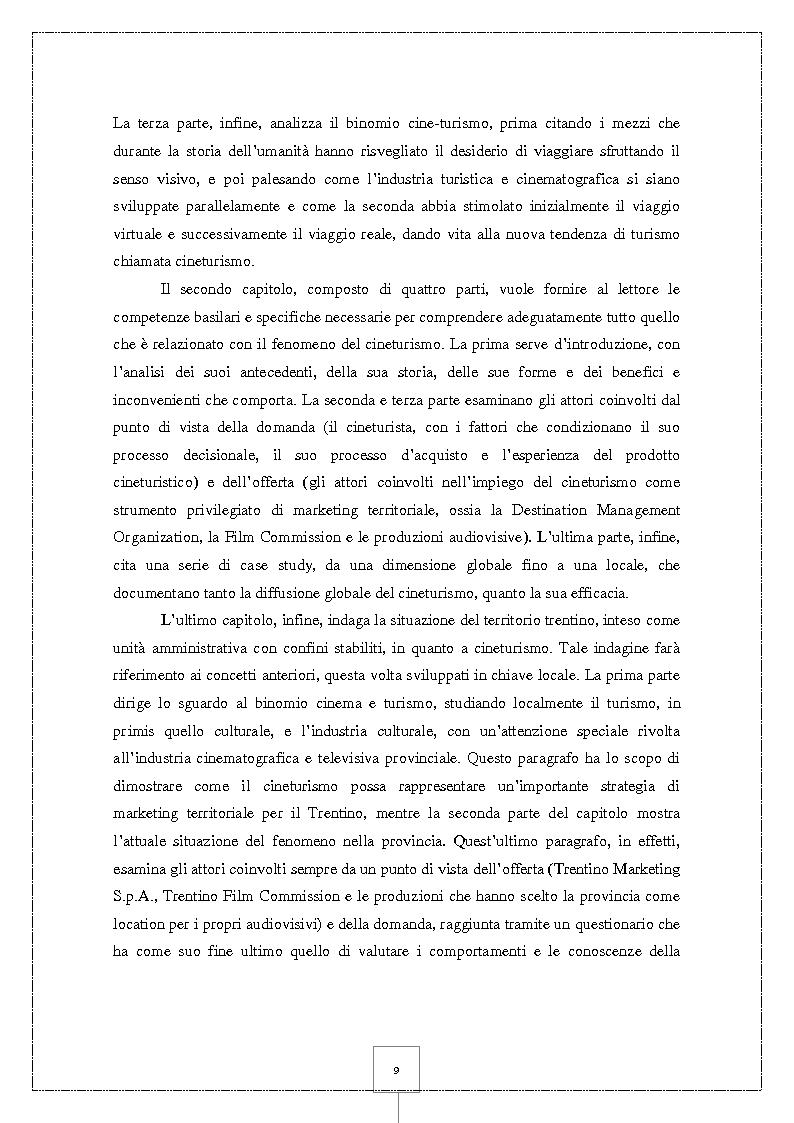 Anteprima della tesi: Il Cineturismo: una nuova forma di turismo culturale e una strategia privilegiata di marketing territoriale, Pagina 4