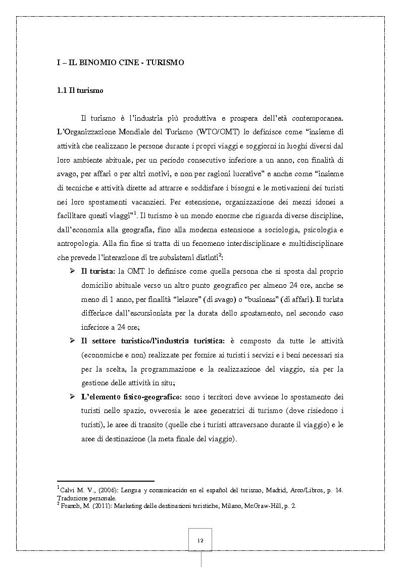 Anteprima della tesi: Il Cineturismo: una nuova forma di turismo culturale e una strategia privilegiata di marketing territoriale, Pagina 6