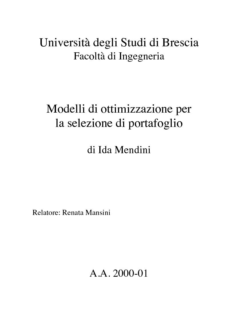 Anteprima della tesi: Modelli di ottimizzazione per la selezione di portafoglio, Pagina 1