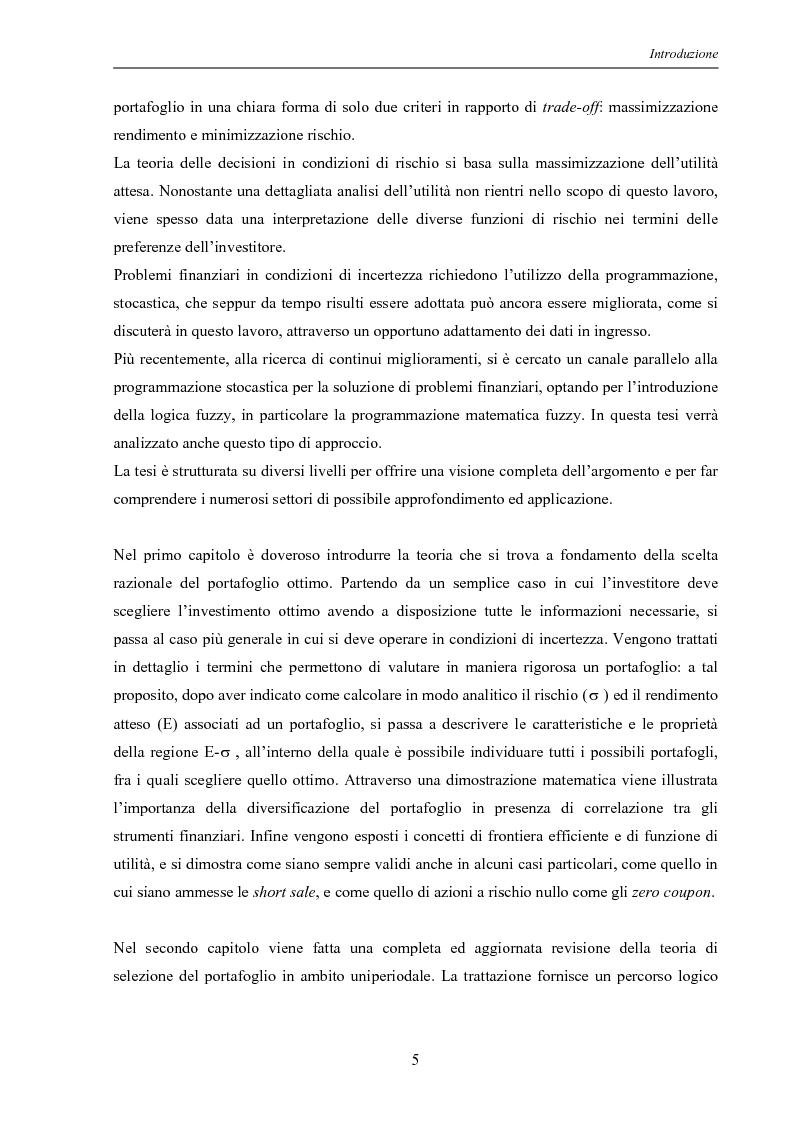 Anteprima della tesi: Modelli di ottimizzazione per la selezione di portafoglio, Pagina 3