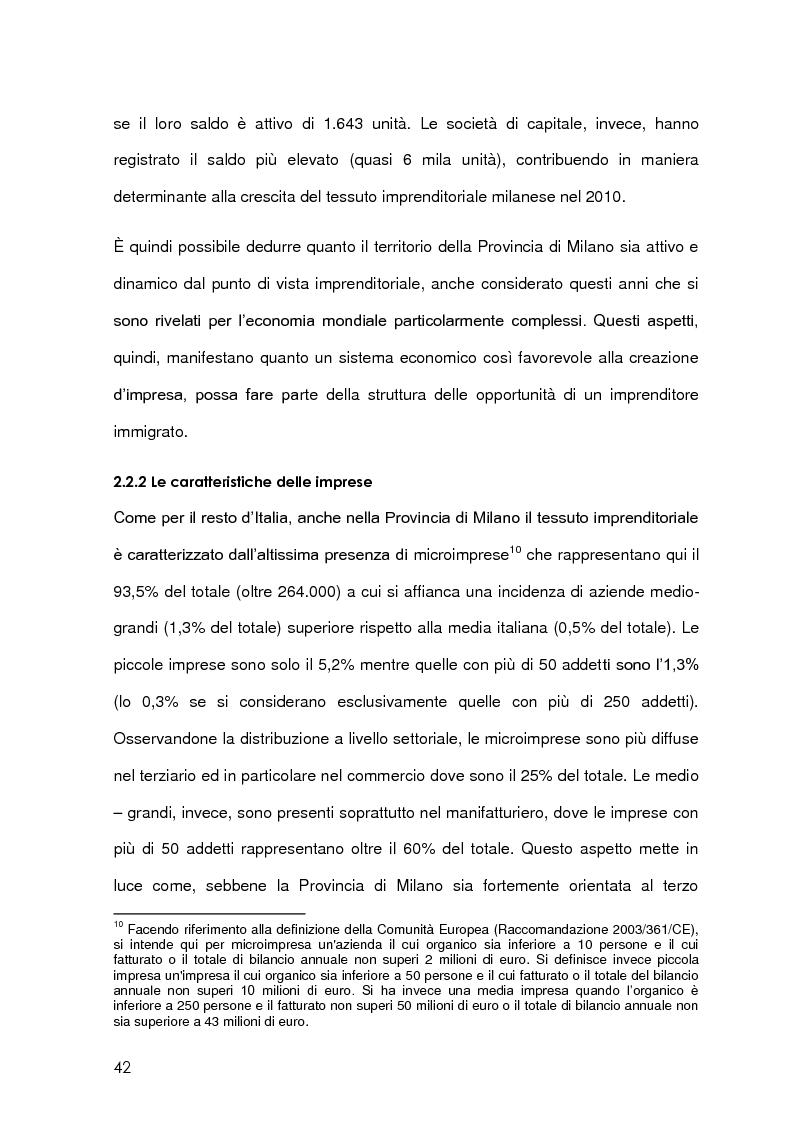 Estratto dalla tesi: Imprenditoria immigrata in Provincia di Milano. Opportunità economiche, istituzionali e sociali.
