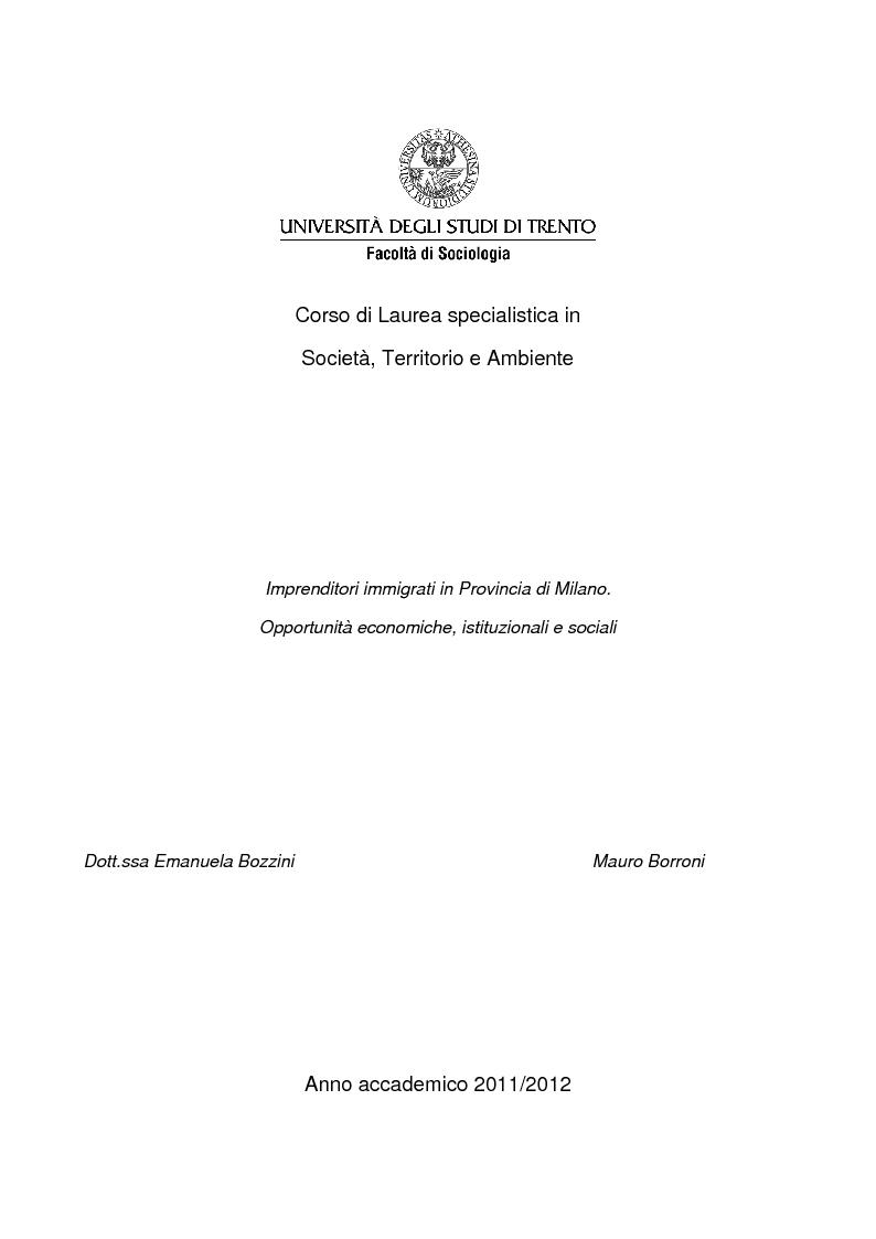 Anteprima della tesi: Imprenditoria immigrata in Provincia di Milano. Opportunità economiche, istituzionali e sociali., Pagina 1