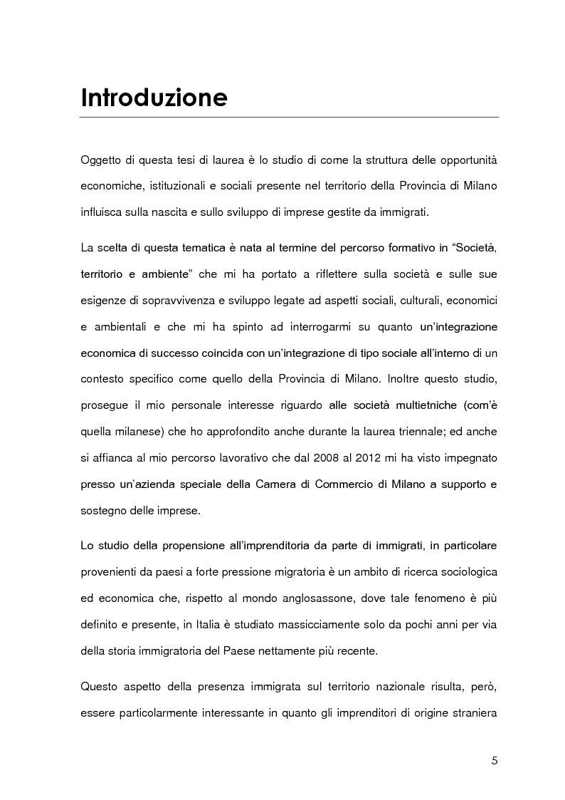 Anteprima della tesi: Imprenditoria immigrata in Provincia di Milano. Opportunità economiche, istituzionali e sociali., Pagina 2