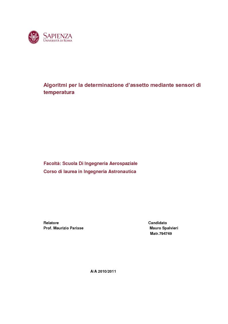 Anteprima della tesi: Algoritmi per la determinazione d'assetto mediante sensori di temperatura., Pagina 1