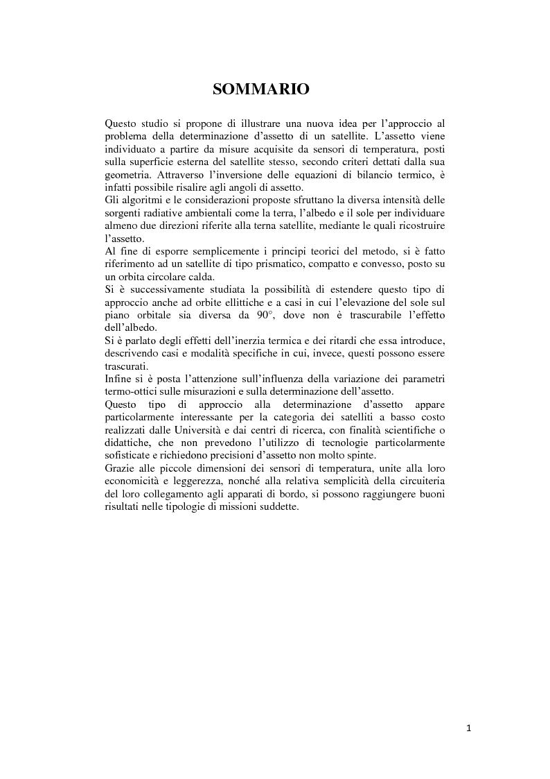 Anteprima della tesi: Algoritmi per la determinazione d'assetto mediante sensori di temperatura., Pagina 2