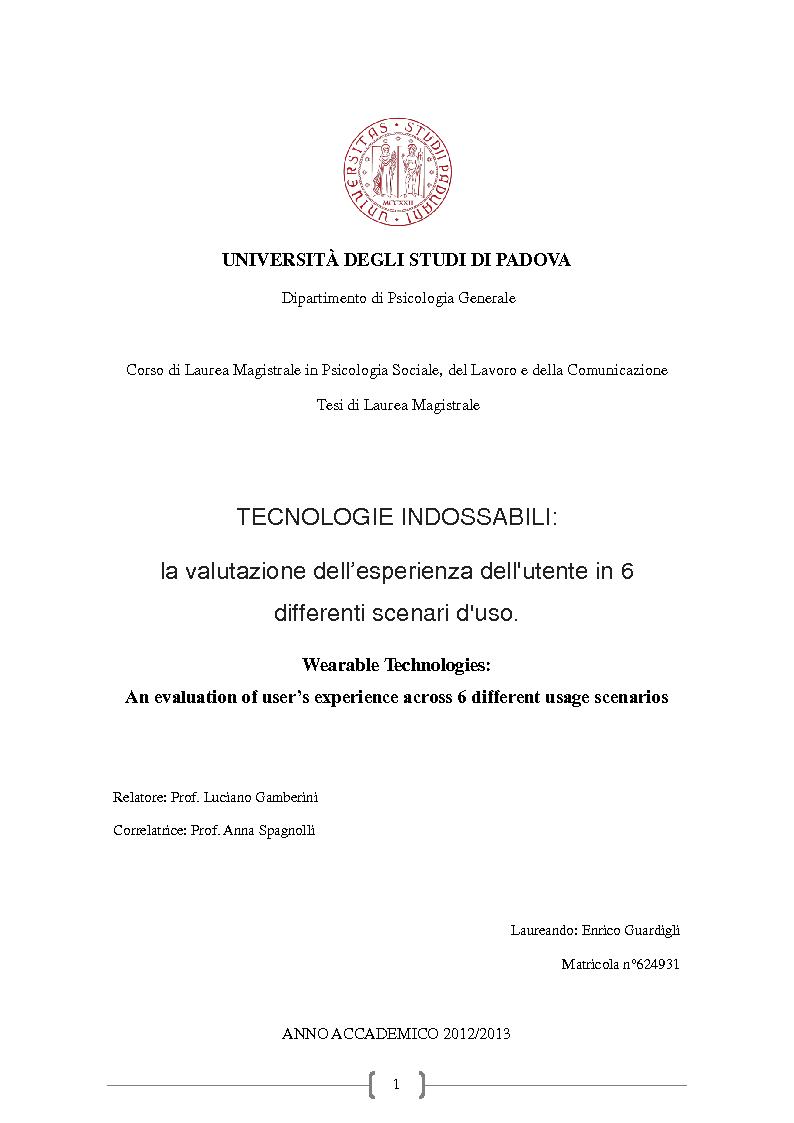 Anteprima della tesi: Tecnologie Indossabili: la valutazione dell'esperienza dell'utente in 6 differenti scenari d'uso., Pagina 1