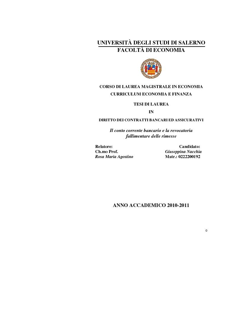 Anteprima della tesi: Il conto corrente bancario e la revocatoria fallimentare delle rimesse, Pagina 1