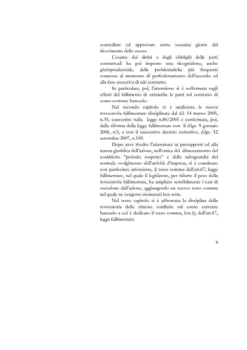 Anteprima della tesi: Il conto corrente bancario e la revocatoria fallimentare delle rimesse, Pagina 3
