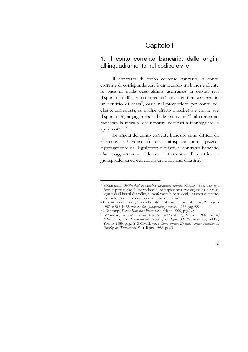 Anteprima della tesi: Il conto corrente bancario e la revocatoria fallimentare delle rimesse, Pagina 6