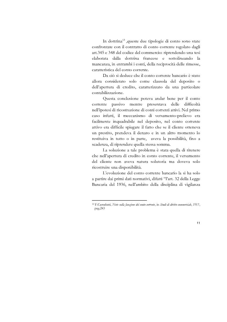 Anteprima della tesi: Il conto corrente bancario e la revocatoria fallimentare delle rimesse, Pagina 9