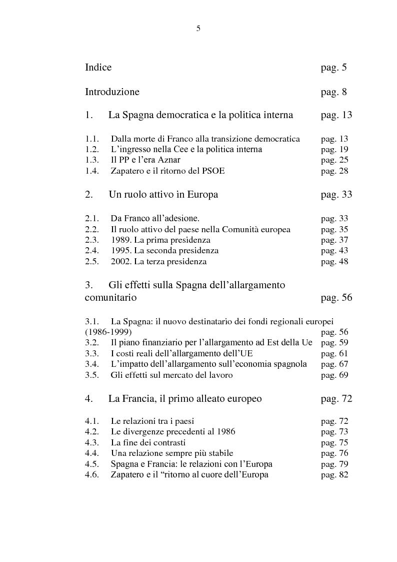 Indice della tesi: La Spagna in Europa: un modello per l'allargamento a Est, Pagina 1