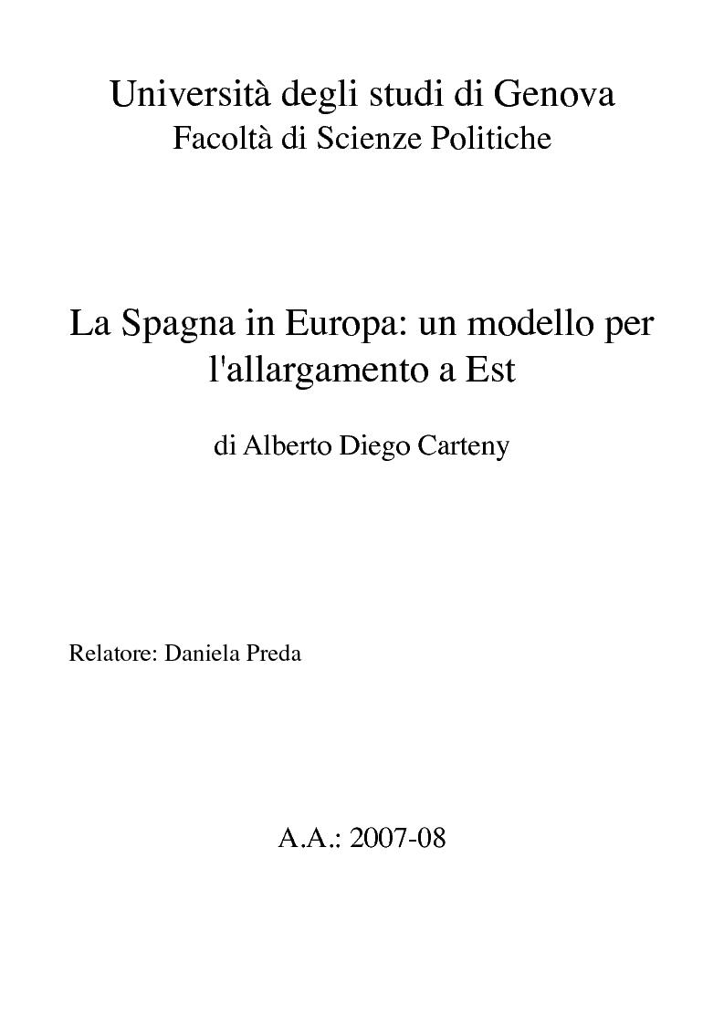 Anteprima della tesi: La Spagna in Europa: un modello per l'allargamento a Est, Pagina 1
