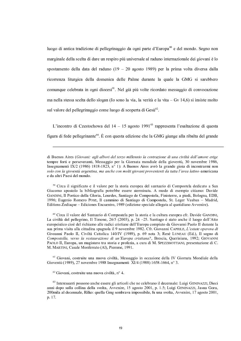 Estratto dalla tesi: Le Giornate Mondiali della Gioventù: sviluppo storico, significato ecclesiale - pastorale e indagine tra i giovani lodigiani.