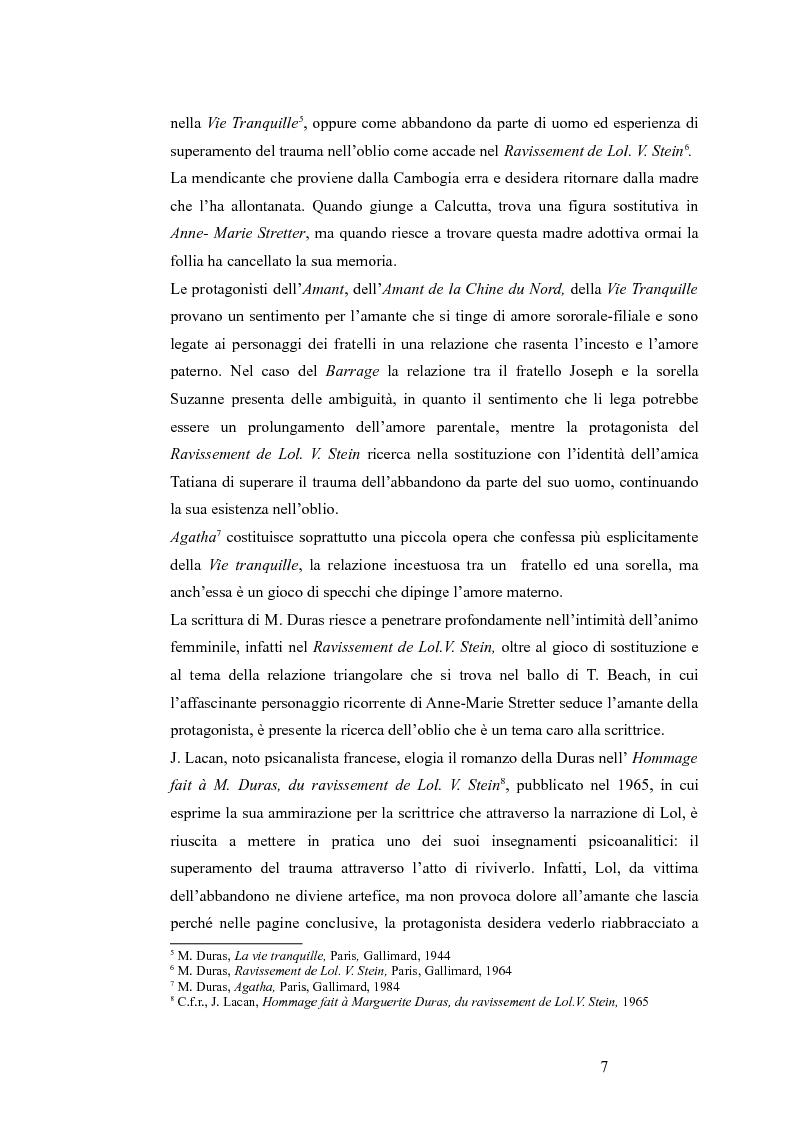 Anteprima della tesi: Il faut se perdre: le manque originaire et l'errance dans l'univers durassien, Pagina 6