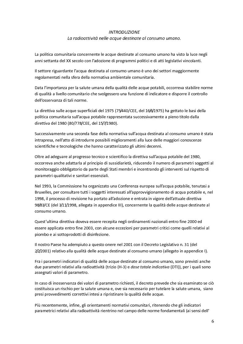 Anteprima della tesi: La radioattività nelle acque destinate al consumo umano nella Regione Toscana, Pagina 2